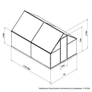Габаритные размеры теплицы из поликарбоната